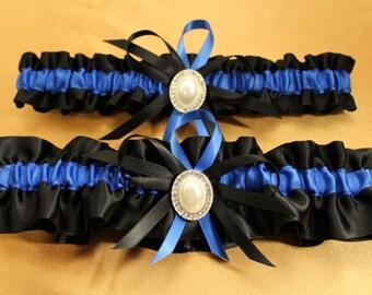 Black and Royal Blue Wedding Garter Set
