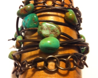 Turquoise Leather Wrap Bracelet, Three Strand Wrap with Genuine Turquoise Stones, 35 Inch Length