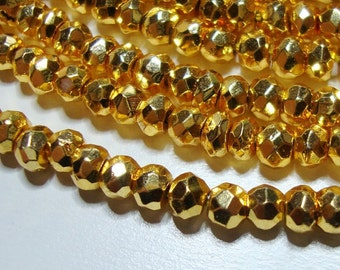 Lovely Sparkling Gold Pyrite Micro Faceted Rondelle - Beautiful Gold looks like Real 22k Gold,3.5 mm