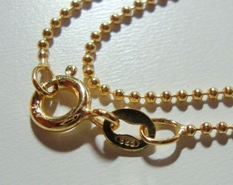 925 Sterling Silver 18K Gold Plate, Beautiful Flexible Beaded Ball Finished Chain Sturdy Finished, 16 Inches, 1mm, 1 pc