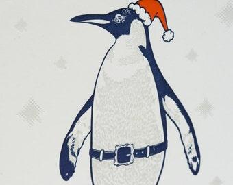 Penguin Christmas Holiday Letterpress Card - Penguin Presents