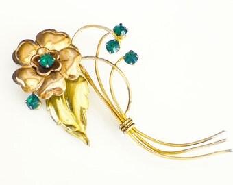 Harry Iskin Brooch Gold Filled Emerald Green Rhinestone Flower Vintage 1940s Jewelry