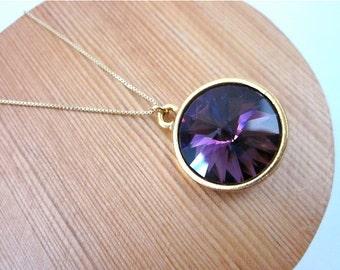 Amethyst Purple Crystal Necklace -- Gold & Purple Crystal Necklace -- Purple Drop Necklace -- Sparkling Purple Necklace -- Round Necklace