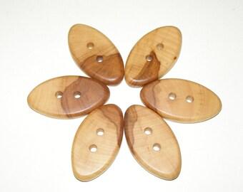 """6 Handmade  apple  wood buttons, accessories (1,97 x 1,0"""" diameter )"""