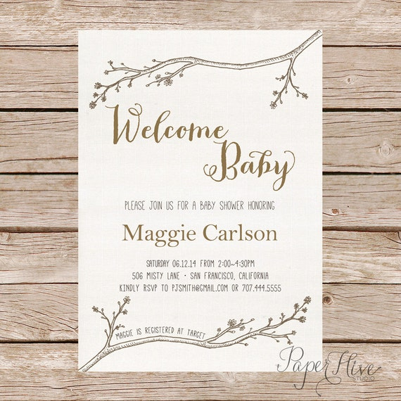Nature Themed Baby Shower: Woodland Baby Shower Invitation / Nature Inspired By Paperhive