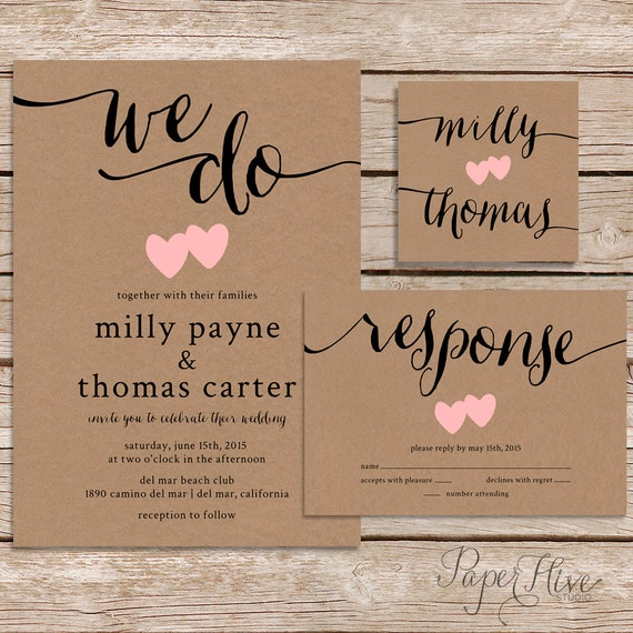 rustic wedding invitation kraft paper wedding invite set modern