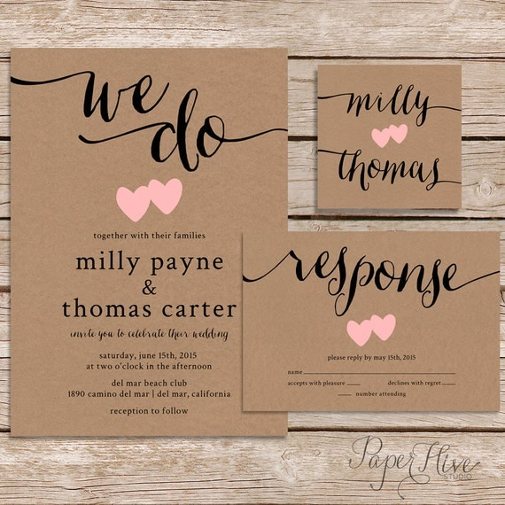 Rustic Wedding Invitation Kraft Paper Wedding By Paperhive