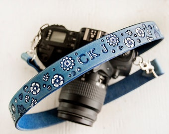 Camera Strap - Custom Leather Personalized Strap - Wedgewood Blue and White - Name or initials added to a field of flowers - Something Blue