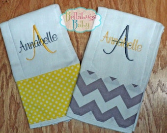 Set of 2  Yellow Polka Dot and Gray Chevron Personalized Monogrammed Baby Burp Cloth...Perfect for a Baby