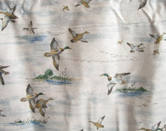 Wild Mallard Duck Grey Flannel Yardage Man Fabric