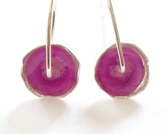 Purple Earrings.Everyday Earrings.Small Earrings.Light Dangle Earrings.Under 40.Silver and Resin Earrings.Silver Earrings.Hand Made jewelry
