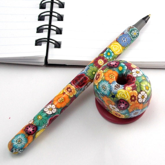 Handmade Pen Stand Designs : Handmade polymer clay pen with holder colorful