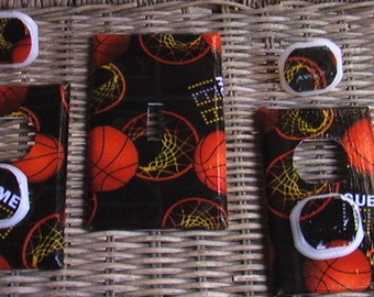 Basketball Set Single Switch Plate and 2 Outlets includes child safety plugs