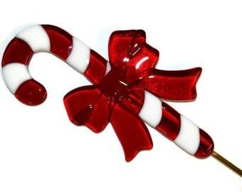 Candy Cane Plant Stake, Fused Glass, Christmas Decor, Holiday Decor, Garden Art, Yard Art, Home Decor, Housewarming Gift