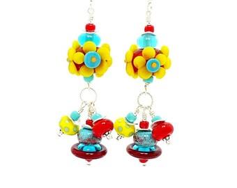 Colorful Flower Earrings, Lampwork Earrings, Glass Earrings, Dangle Earrings, Chandelier Earrings, Beadwork Earrings, Beaded Earrings