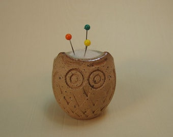 Itty Bitty Owl Pin Cushion -  with Needle Felted Wool - handmade and hand felted