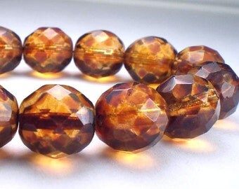 12mm Czech Glass Picasso Beads Amber with Red Picasso Faceted Round Beads 6 Pcs. R-421