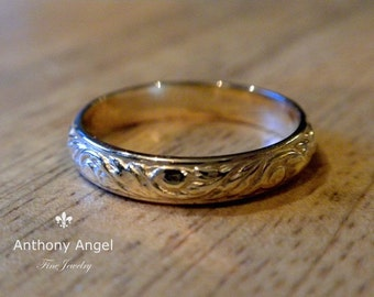Made To Order. - 14K Art Nouveau Floral Wedding Band.