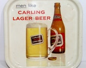 Advertising tray - Men like Carling Lager Beer square metal tray - frothy mug, cap and bottle of Black Label - white - lager - pub