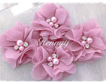 4 pcs Aubrey ORCHID PINK - Soft Chiffon with pearls and rhinestones Mesh Layered Small Fabric Flowers, Hair accessories
