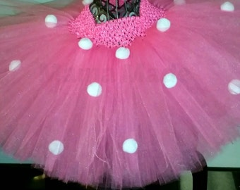 Hot Pink Polka Dot Tutu Hot Pink Tutu with white polka dots sizes newborn 3 mo 6 mo 9 mo 12 mo 18 mo 2t 3t 4t 5 6 8 10 12 14