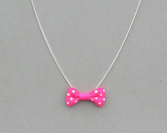 Pink Polka Dot Bow Necklace