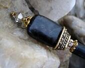 Elegant Black Obsidian Gemstone Hair Stick with Swarovski Crystal Satin Black and Gold -  Carey