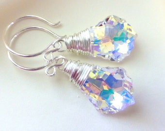 Aurora Borealis Swarovski Crystal Earrings,  AB  Baroque Briolettes, Sterling Silver, Bridal Earrings, Under 25