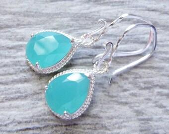 Seafoam Green Blue Teardrop Earrings, Aqua Caribbean Blue Glass Sterling Silver Earrings, Bridesmaid Jewelry, Gift, Wedding, Beach, Ocean