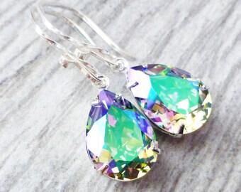 Paradise Prism Swarovski Crystal Drop Earrings, Rainbow Rhinestone Pear Earrings, Sterling Silver Teardrops, Gift for Her, Crystal Jewelry