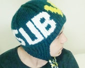 Personalized Mens Hat - Personalized SUBVAY hat - custom knit - hand knit hat