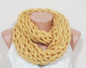 Yellow INFINITY SCARF KNIT for Women in mustard yellow scarf hand knitted