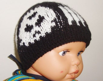 Synyster Gates Hat Beanie for Baby Boys Hat in Black and White skulls hand knit hat
