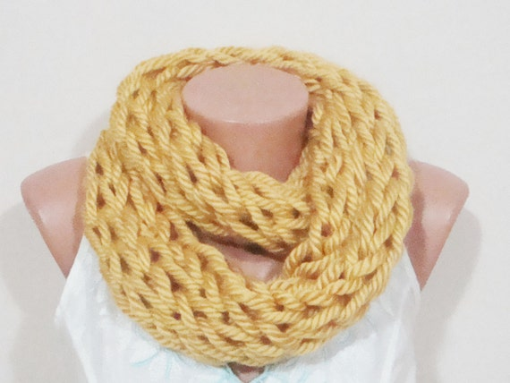 Mustard infinity scarf - Thick knit cowl circle scarf