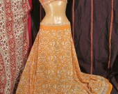 """Orange sari halter and skirt your size up to 58"""" waist 36"""" long, recyled, bellydance, ATS"""