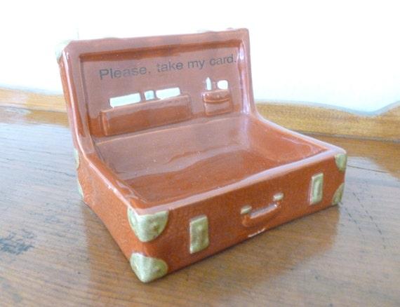 Vintage ceramic briefcase business card holder by joeblake for Ceramic business card holder