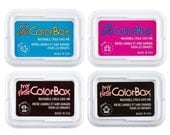 "ONE pink and ONE Black ink pad My 1st ColorBox Baby/Child Safe Ink Pad - baby footprints and handprints small 2""x3"" box"