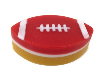 Football Soap   Sports Fan Soap   Soap in Team Colors   Red and Gold Soap   Gift for Him   Gift for Football Fan   Team Spirit Football Soap