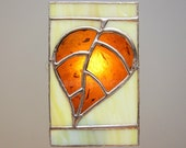Leaf Stained Glass Night Light Amber Brown Unique Lighting Nightlight Handmade