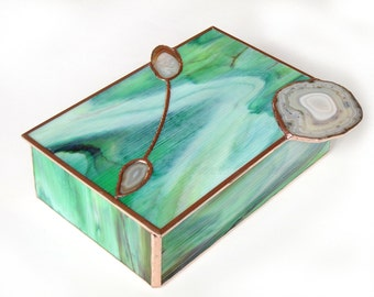 Stained Glass Jewelry Box Green Mint White Spring Forest Agate Geodes Handmade OOAK
