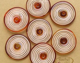 Red and Cream Lampwork Glass Beads, FREE SHIPPING, Handmade Spiral Lampwork Glass Disc Beads - Rachelcartglass