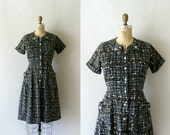 1950s Vintage Dress - 50s Cotton Day Dress - Stained Glass