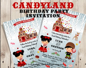 Candyland twins Birthday party invitation - Hansel and Gretel inspired - Twins gingerbread decorating party invitation