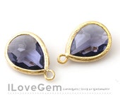 SALE/ 10pcs / P2760 Gold plated, Tanzanite, Framed Glass drop, Framed faceted glass stone, Glass pendant, 12X17mm