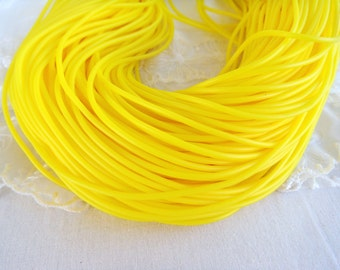 Rubber Cord tube 2mm(0,08in), hole 0,8mm(0,03in), PVC, Neon Yellow, Fluo Yellow- 4,5m/5 yards(1 piece)