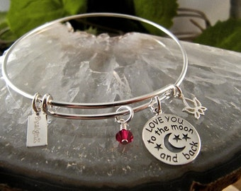To the Moon Sterling Bangle with a Crystal