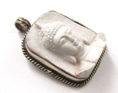 2 Pendants Tibetan white color Buddha face pendant from Nepal - PS001A