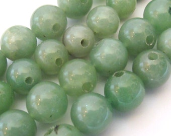 2 BEADS - Green chalcedony gemstone 3 Hole Guru Beads - GM314