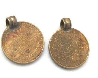 2 Coins- 19 mm old Nepal coin pendant charms - BD653