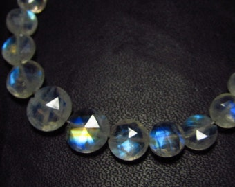 AAAA - High Quality So Gorgeous - Rainbow Moonstone - Faceted Coin Briolettes - Blue Flashy Strong Fire size - 3.5 - 8.5 mm - 37 pcs